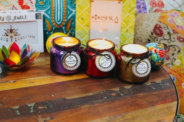 ISHKA Metallic Jar Candles - Colourful Christmas gifts