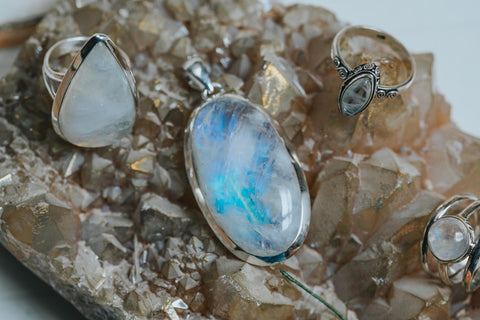 ISHKA Moonstone jewellery pendant and moonstone rings