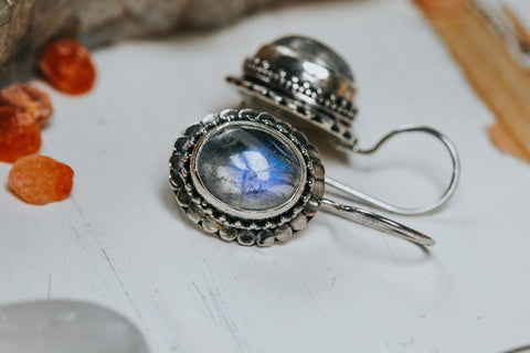 ISHKA Moonstone silver earrings