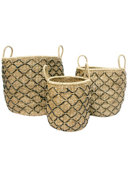 Set of 3 Natural & Black Diamond Seagrass Baskets