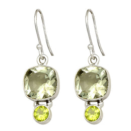 2 Stone Green Amethyst And Peridot Earrings