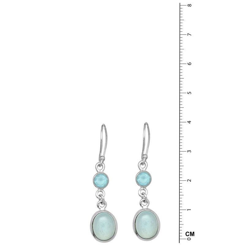 2 Stone Round Aqua Chalcedony Earrings