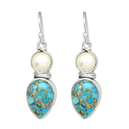 2 Stone Turquoise Pearl Earrings