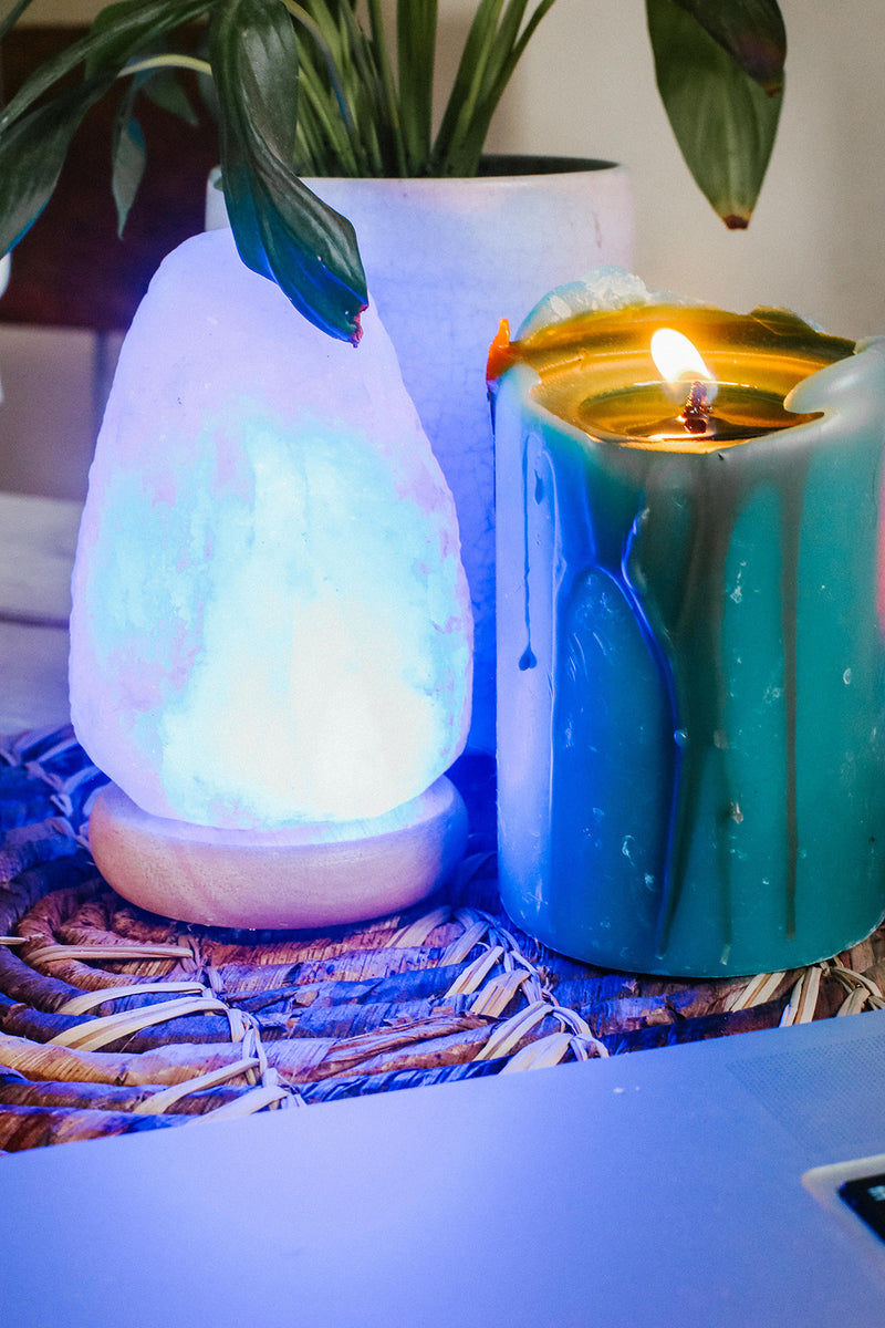 Mini USB Salt Lamp - Blue