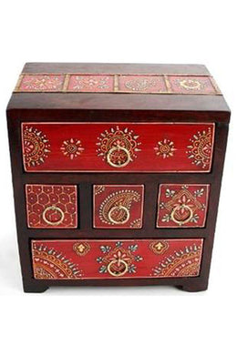 5 Drawer Painted Jewellery Box - Red