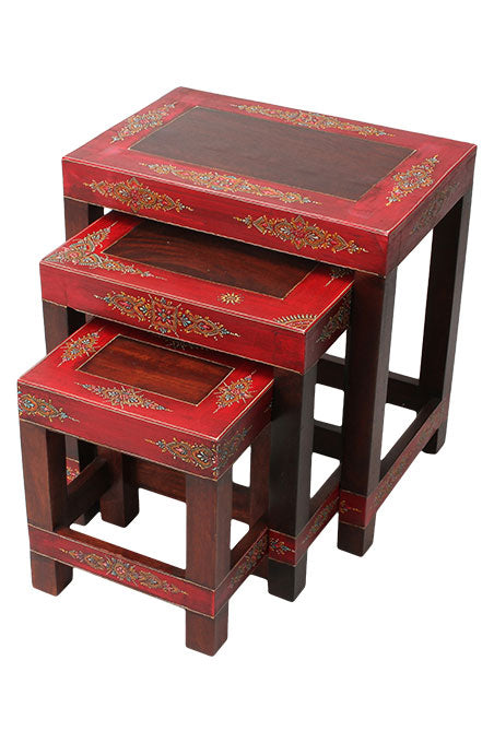 Set of 3 Red Border Tables