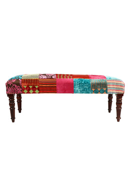 Multi Patch Velvet Rayon Bench