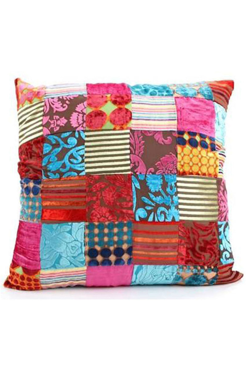 Velvet Multi Patch Cushion - Large