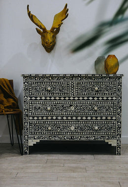 Chest Drawer 4 Bone Floral Inlay 108x50x85cm Black Resin