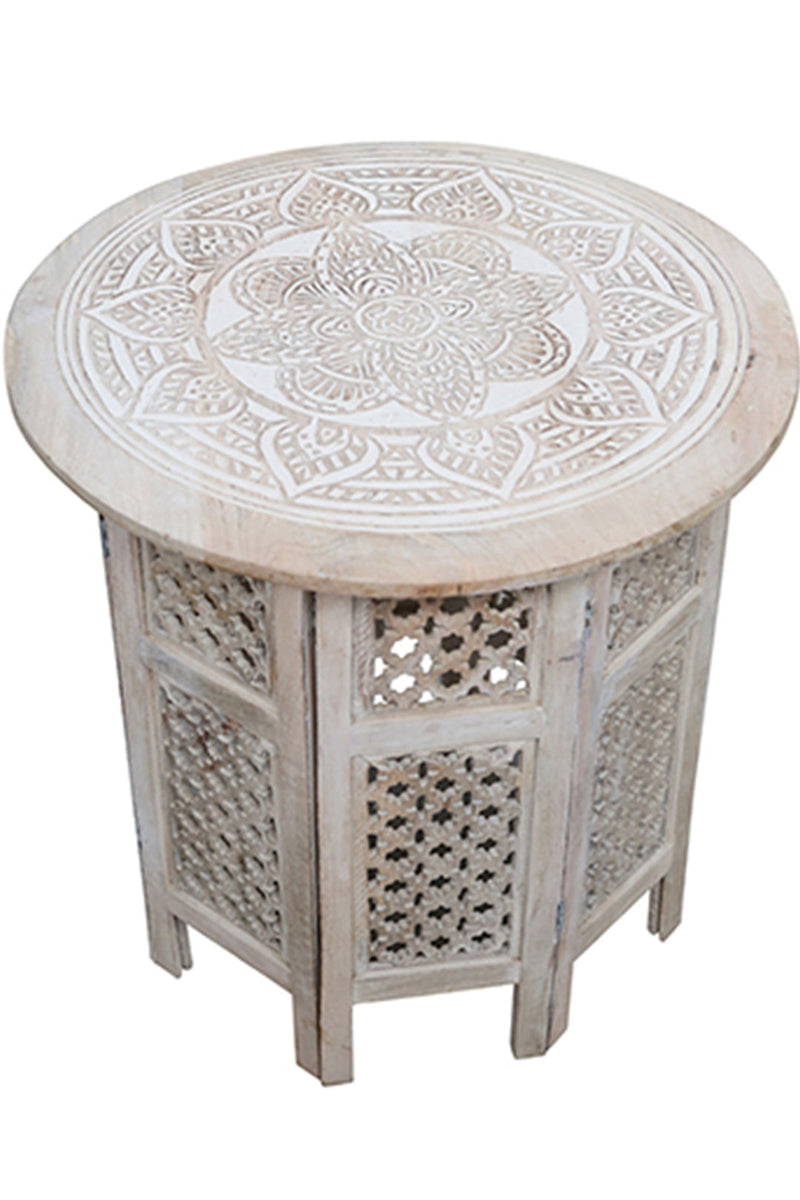 Mandala Carved Chai Table