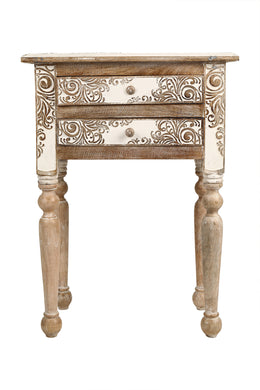 Carved White Wash Bedside Table