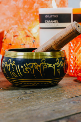 700g Black Painted Brass Singing Bowl