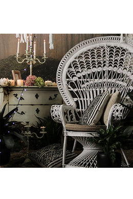 White Rattan Peacock Armchair