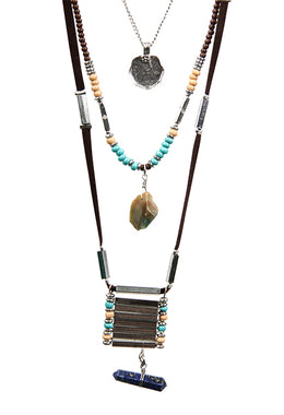 Layered Gemstone Point Necklace