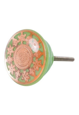 Green & Gold Floral Resin Knob