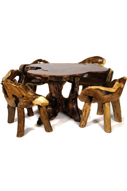 Teak Root Table Setting