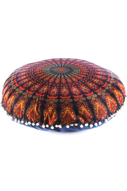 Navy Orange Round Mandala Ottoman