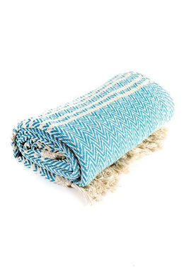 Aqua Herringbone Throw