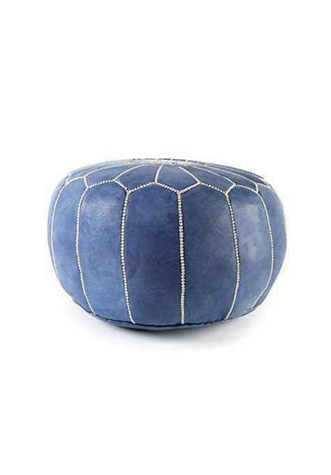 Royal Blue Leather Ottoman