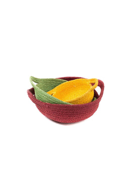 Red Jute Bowl with Handles