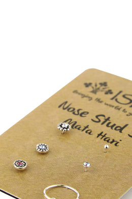 Set of 6 Silver Nose Stud Set