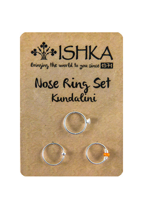 Om Shanti Set of 3 Silver Nose Rings