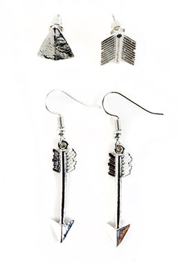 Arrow Set of 2 Stud & Hook Earrings