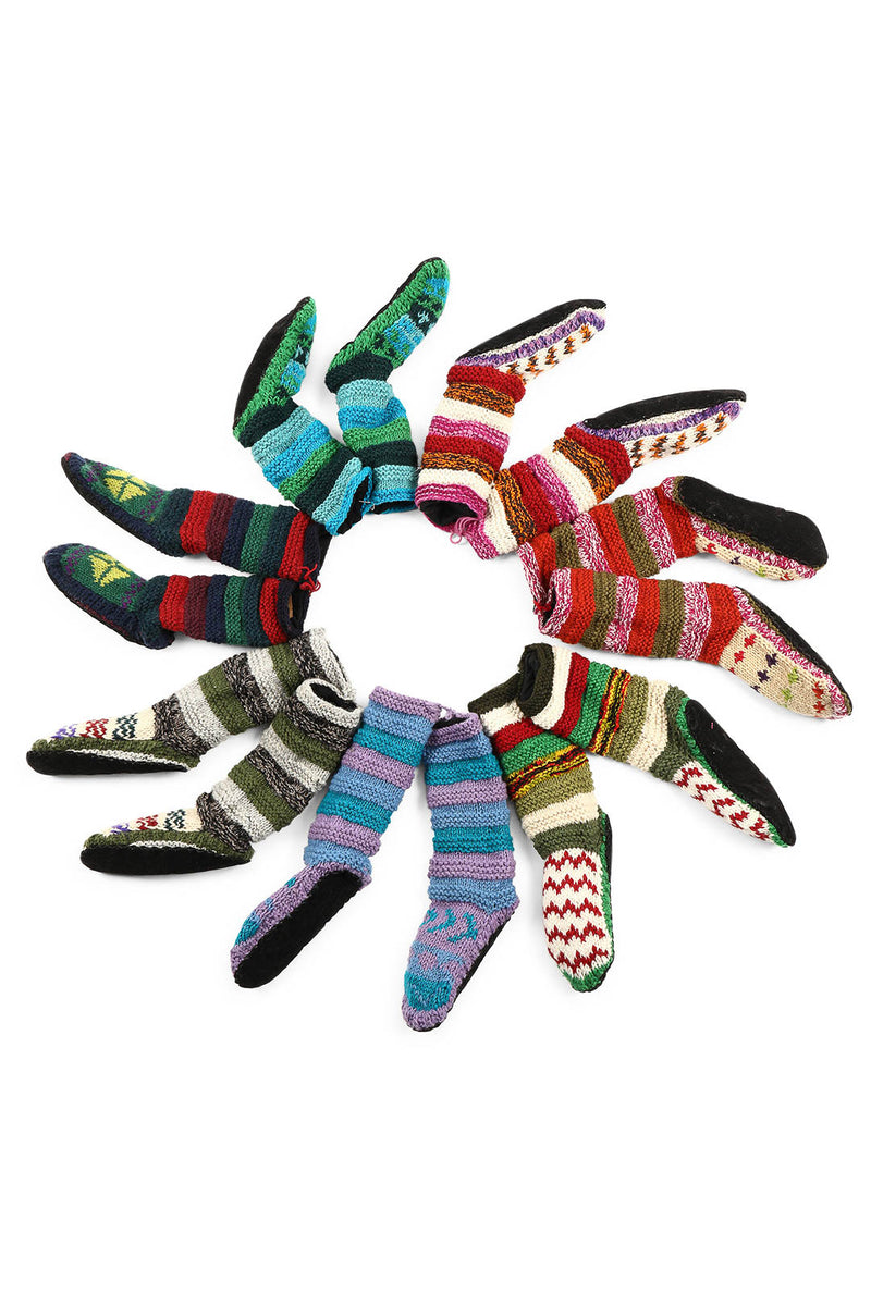 Assorted Nepalese Woolen Leather Sole Socks