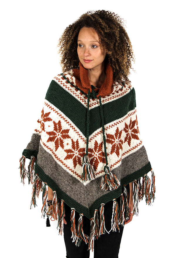 Lambswool Border Hooded Poncho