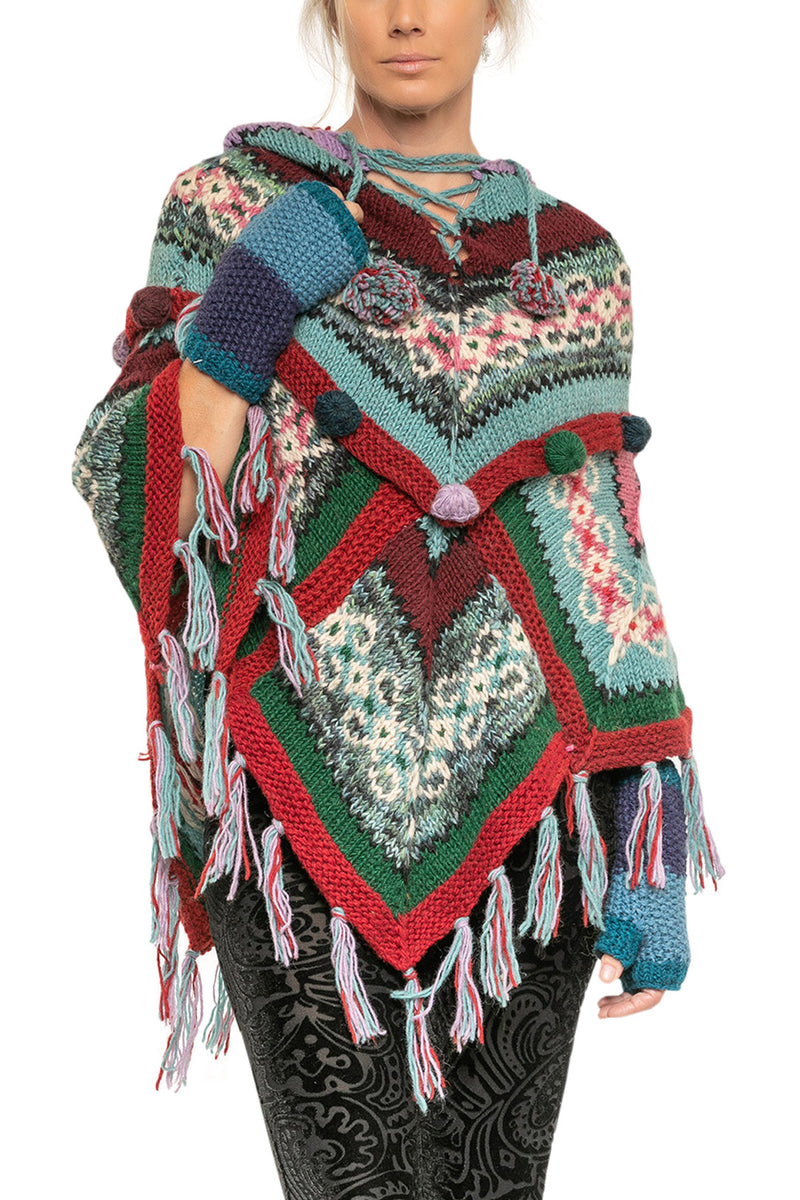 Assorted Hooded Mixed Poncho