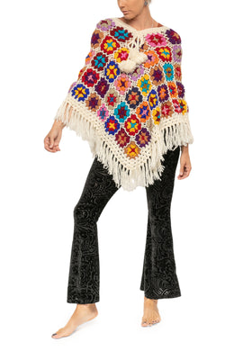 Poncho Crochet Patched Assorted