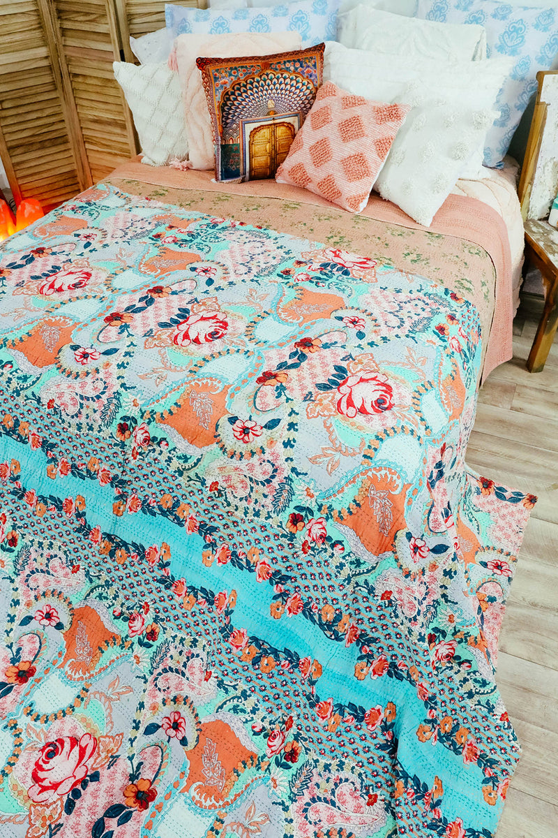 Assorted Indian Kantha Tagai Bedspread - Thin