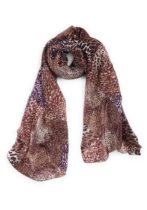 Brown & Purple Silk Scarf