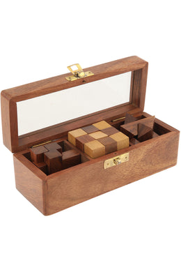 Box of Three Wooden Puzzles