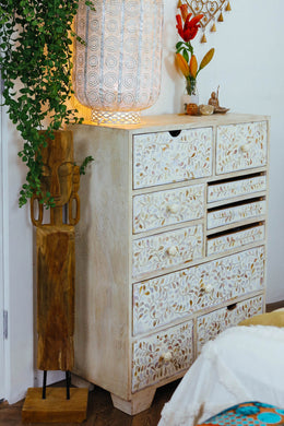 Mother of Pearl 10 Drawer Bedside Cabinet