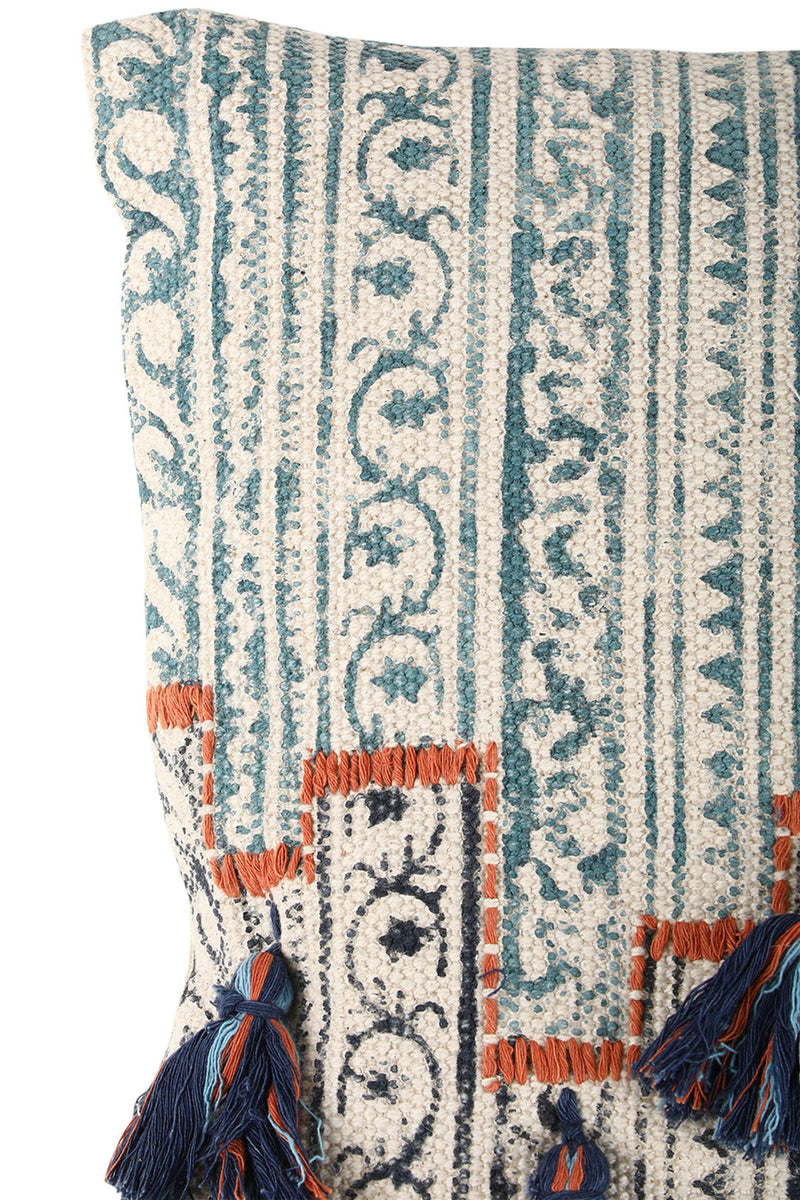 Multi Tassel Handblock Print Cushion