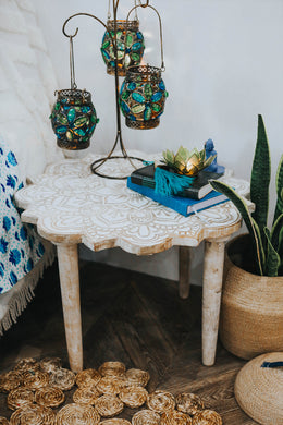 Black Floral Mandala Side Table