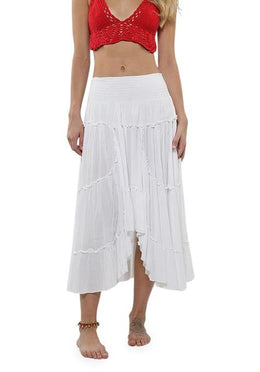 White Boho Tiered Skirt