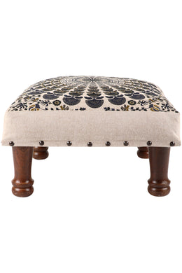Black Embroidered Mandala Stool