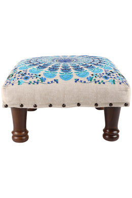 Blue Embroidered Mandala Stool