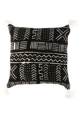Monochrome Mud Cloth Tufted Cushion