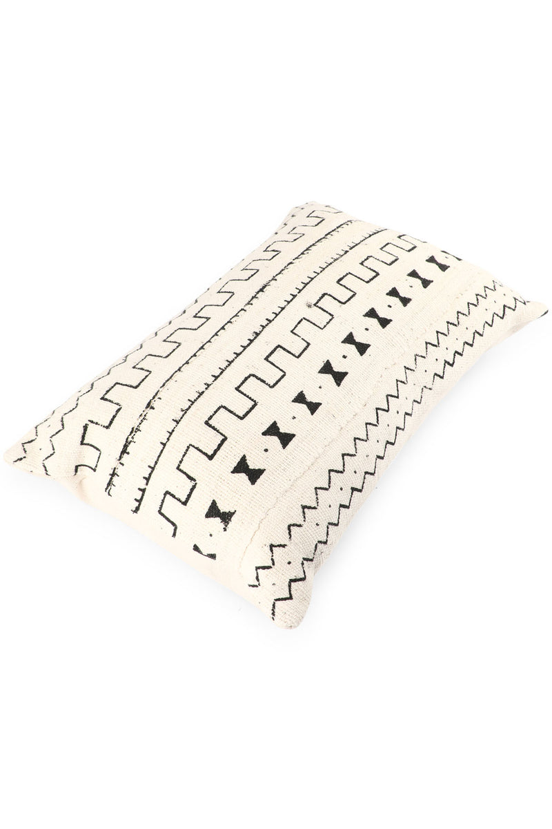 White/Black Moroccan Mudcloth Cushion