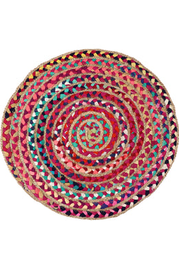 150cm Round Braided Chindi & Jute Rug