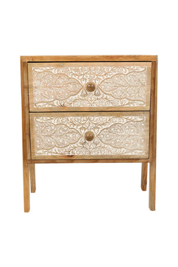 Stackable Floral Carved Bedside Drawers