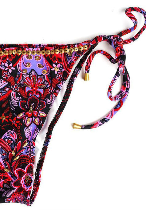 Floral Beaded Bikini Bottoms