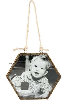 Double-sided Hanging Hexagonal Photo Frame