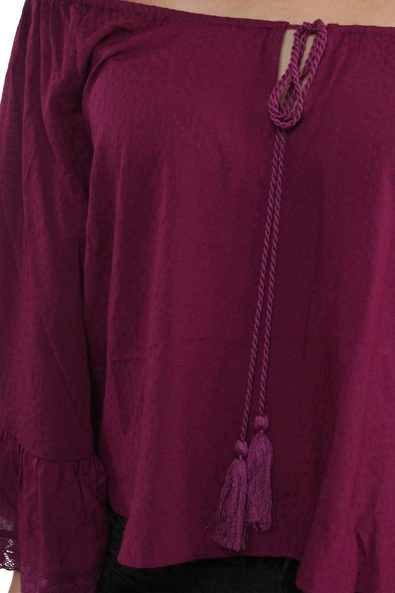 Plum Off the Shoulder Ruffle Sleeves Top