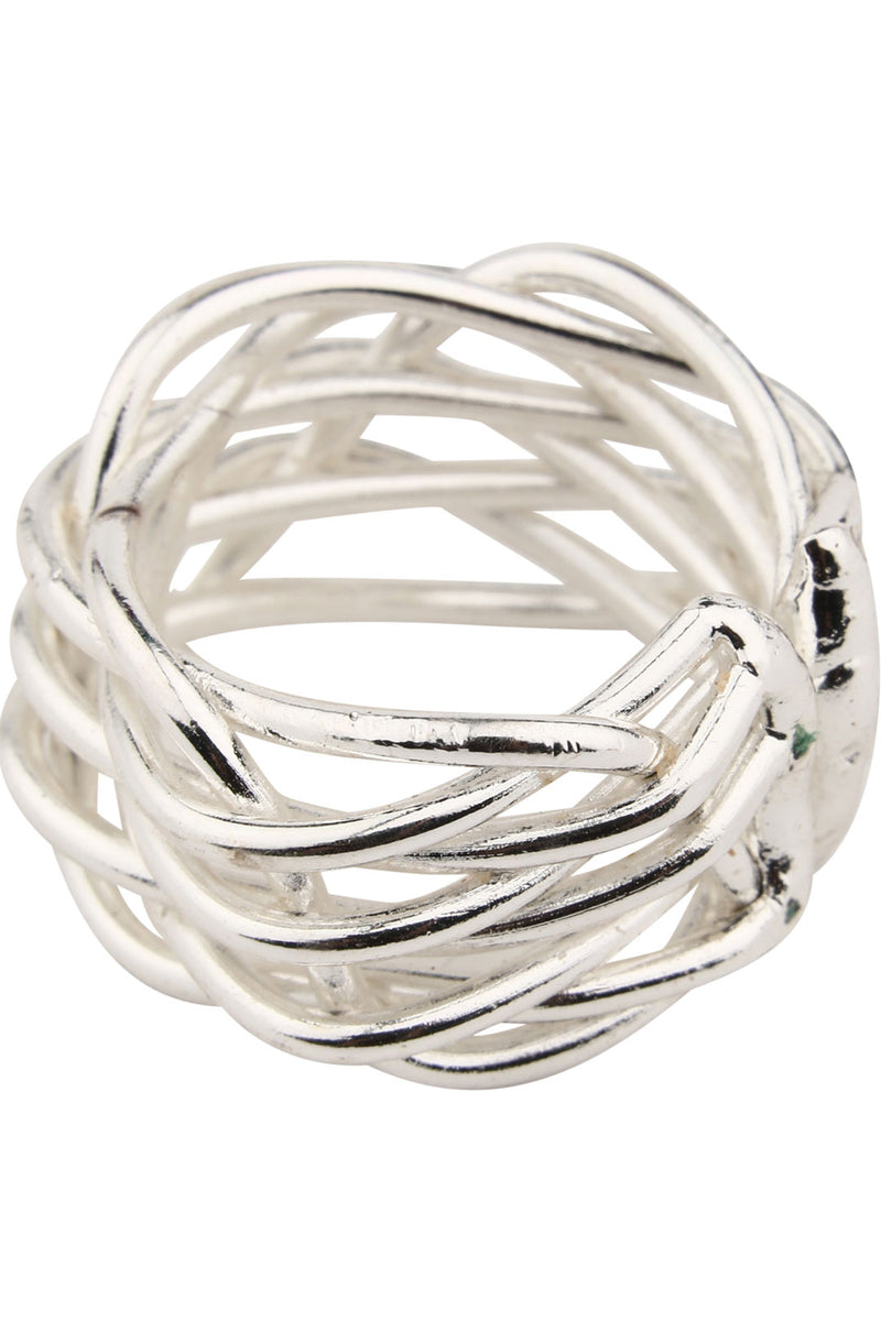 Silver Adjustable Wire Woven Ring