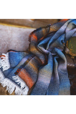 Blue & Orange Stripe Shawl