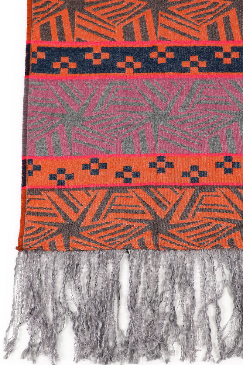 Bright Orange Aztec Shawl
